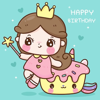 Petite fée princesse mignonne s'asseoir sur l'animal kawaii de fête d'anniversaire de dessin animé de petit gâteau de licorne