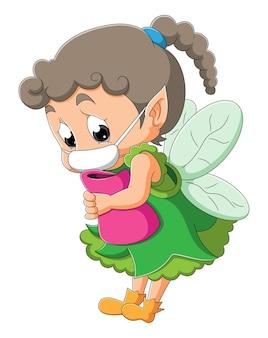 La petite fée triste porte le masque de l'illustration