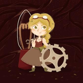 Petite femme avec équipement, clé et lampe.