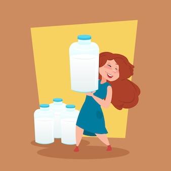 Petite ferme fermier tenir bouteille de lait éco concept