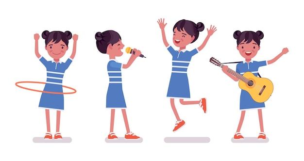Petite fille 7, 9 ans, divertissement pour enfants d'âge scolaire actif