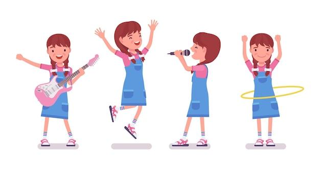 Petite fille de 7 à 9 ans, divertissement pour enfants d'âge scolaire