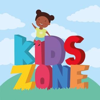 Petite fille afro avec lettrage de zone enfants dans le champ