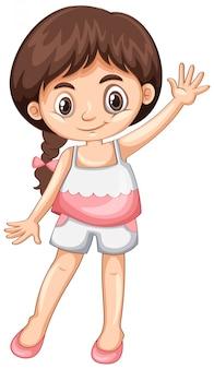 Petite fille agitant la main bonjour