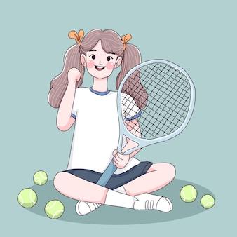 Petite fille aime le tennis. personnage de joueur de tennis.
