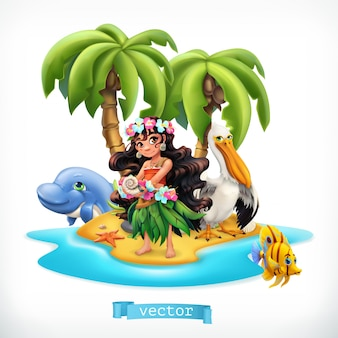 Petite fille et animaux drôles. île tropicale