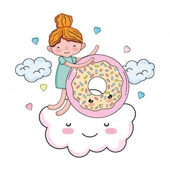 Petite fille au caractère kawaii de beignets sucrés