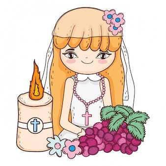Petite fille aux fruits raisins en célébration de communion