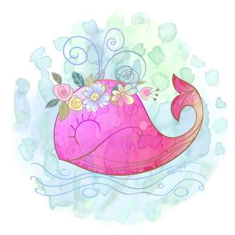 Petite fille baleine rose