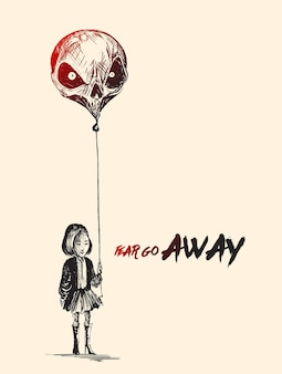 Petite fille avec des ballons en forme de crâne avec le texte de fear go away