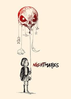 Petite fille avec des ballons en forme de crâne avec le texte de la peur s'en va