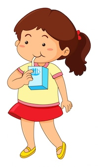 Petite fille à boire du lait