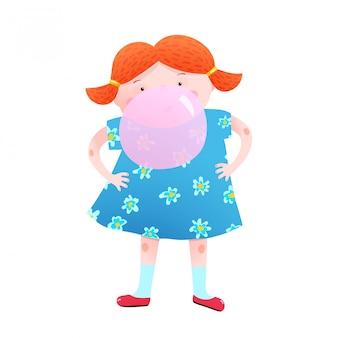 Petite fille et bulle de chewing-gum amusant