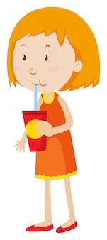 Petite Fille Buvant Dans Une Tasse Vecteur gratuit