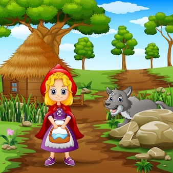 Petite fille à capuche rouge loups surveillés