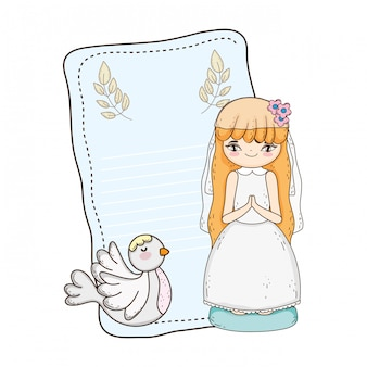 Petite fille avec la colombe en première célébration de communion