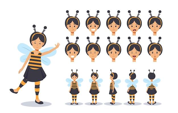 Petite fille en costume d'abeille