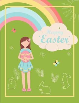 Petite fille de dessin animé avec des brosses illustration vectorielle avec un joyeux souhait de pâques design plat