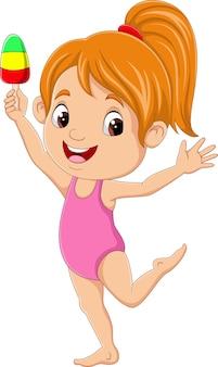 Petite fille de dessin animé avec de la crème glacée