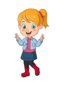 Petite fille de dessin animé montrant le signe de la main de la paix