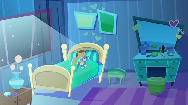 Petite fille dormant dans son lit, étreignant un ours en peluche