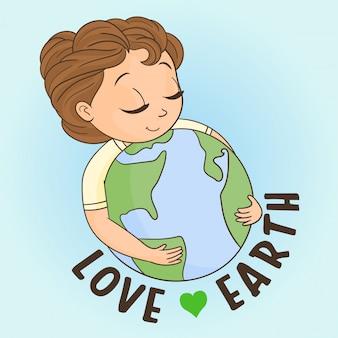 Petite fille embrassant la planète