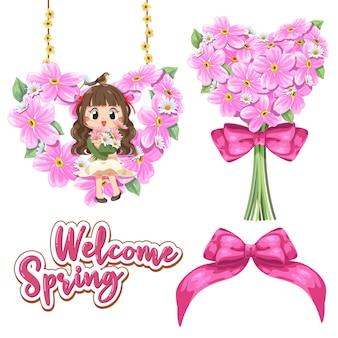Une Petite Fille Est Assise Sur Une Collection De Cadre De Fleur En Forme De Coeur Avec Ruban. Vecteur gratuit
