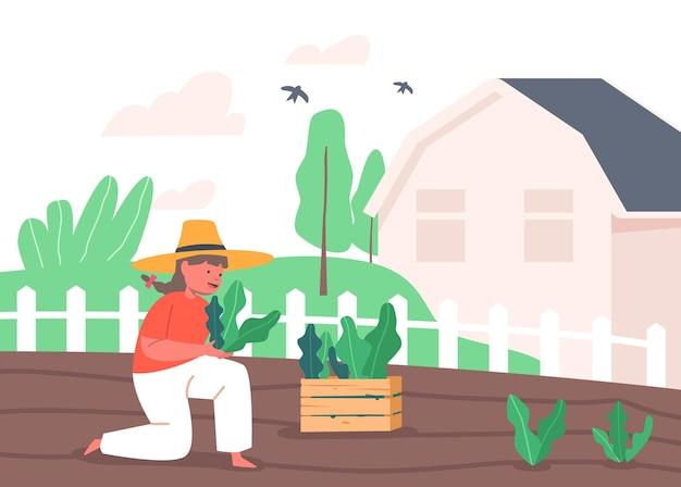 Petite fille fermière ou personnage de chalet travaillant dans le jardin, plantant des pousses vertes au sol, garde d'enfants des plantes. passe-temps actif en plein air, travaux de jardinage et d'agriculture. illustration vectorielle de dessin animé