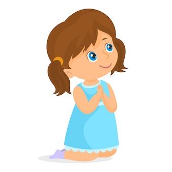 Petite fille à genoux en priant