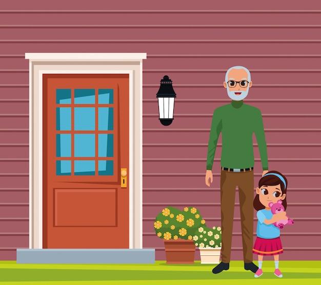 Petite-fille et grand-père de la main