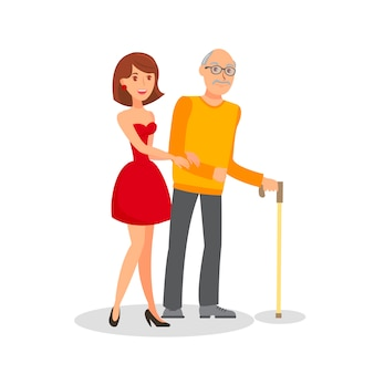 Petite-fille avec grand-père, plat, illustration