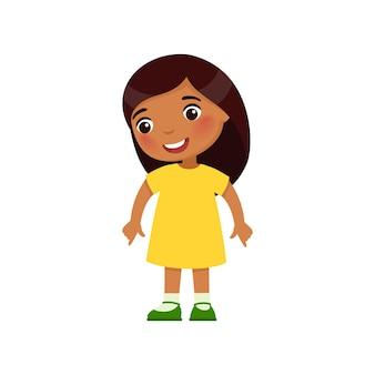 Petite fille indienne regarde vers le bas et montre ses doigts vers le bas personnage de dessin animé à la peau foncée
