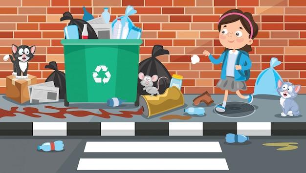 Petite fille jetant des ordures dans la rue