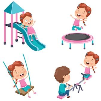 Petite fille jouant au parc