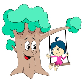 Une petite fille jouant sur la balançoire sous un grand arbre. illustration de dessin animé mignonne petite fille autocollant