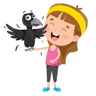 Petite fille jouant avec un corbeau