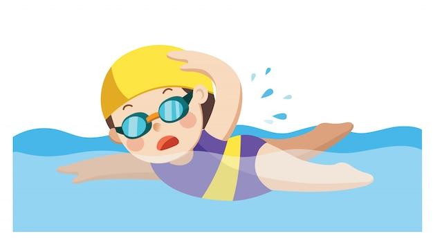 Petite fille joyeuse et active nageant heureuse dans la piscine