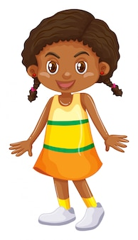 Petite fille en jupe jaune