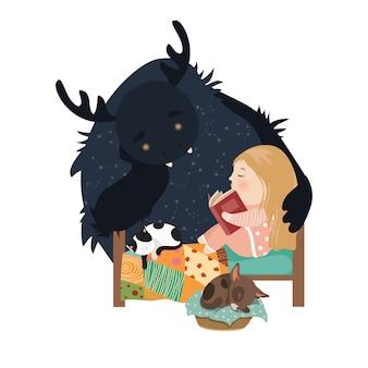 Petite fille lisant des contes de fées au monstre