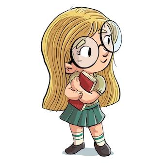 Petite fille avec des lunettes et livre