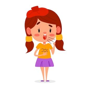 Petite fille malade tousse. l'enfant a des symptômes de toux, illustration