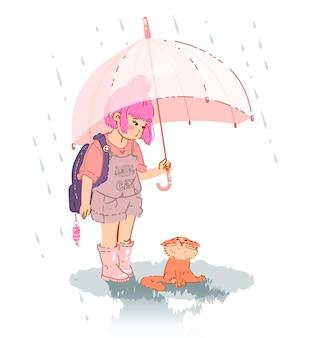 Petite fille mignonne avec un chat sous un parapluie sous la pluie. illustration vectorielle isolé