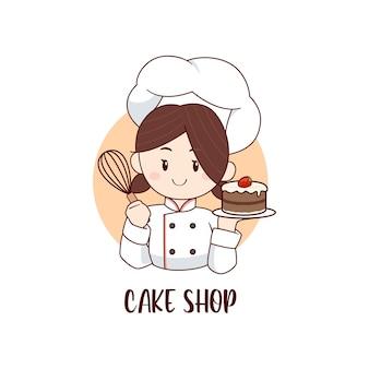 Petite fille mignonne de chef tenant le modèle de logo de gâteau de fraise de chocolat