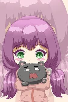 Petite fille mignonne et drôle avec illustration de dessin animé de chat mignon