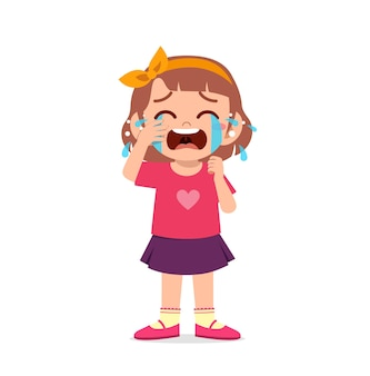 Petite fille mignonne avec l'expression de pleurs et de colère
