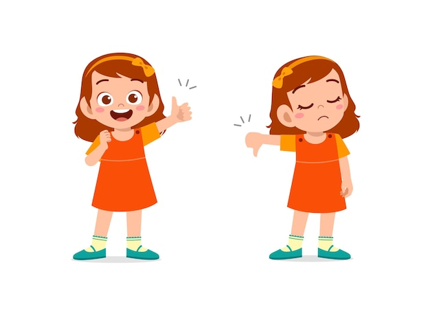 Petite fille montre le pouce vers le haut et le pouce vers le bas