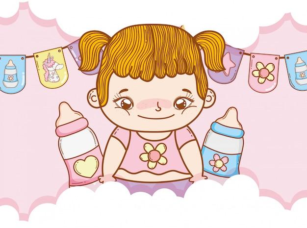 Petite fille avec des nattes et des biberons