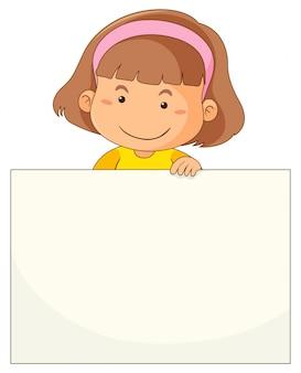 Petite fille et papier blanc