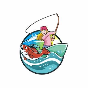 Petite fille pêche sur l'illustration de dessin de bateau