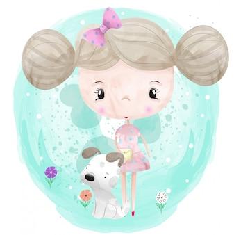 Petite fille et un personnage de chien mignon peint avec prime de vecteur aquarelle